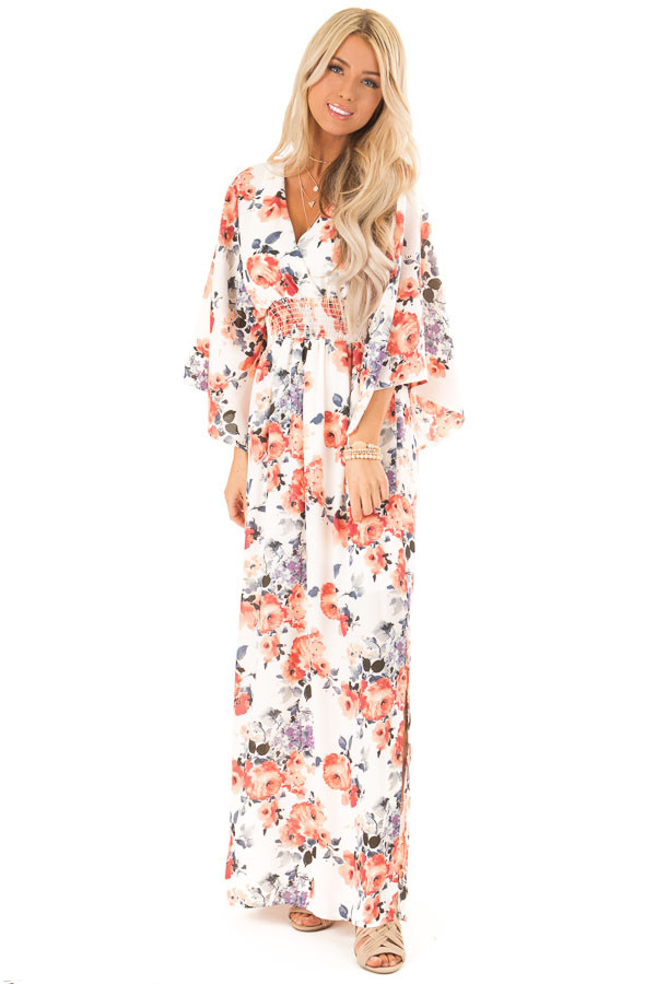 Ivory Floral Print Maxi Dress with Smocked Waist front full body