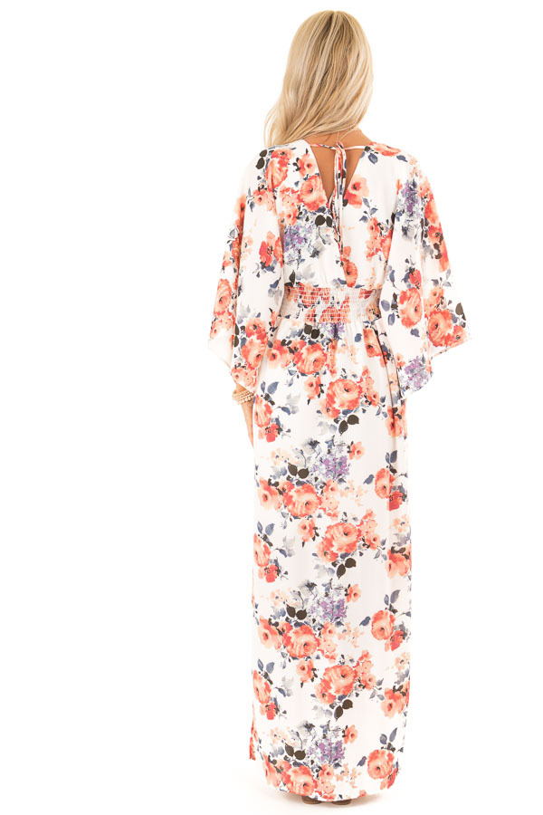 Ivory Floral Print Maxi Dress with Smocked Waist back full body