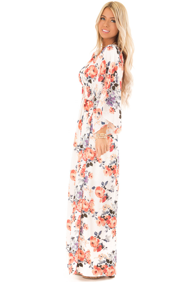 Ivory Floral Print Maxi Dress with Smocked Waist side full body