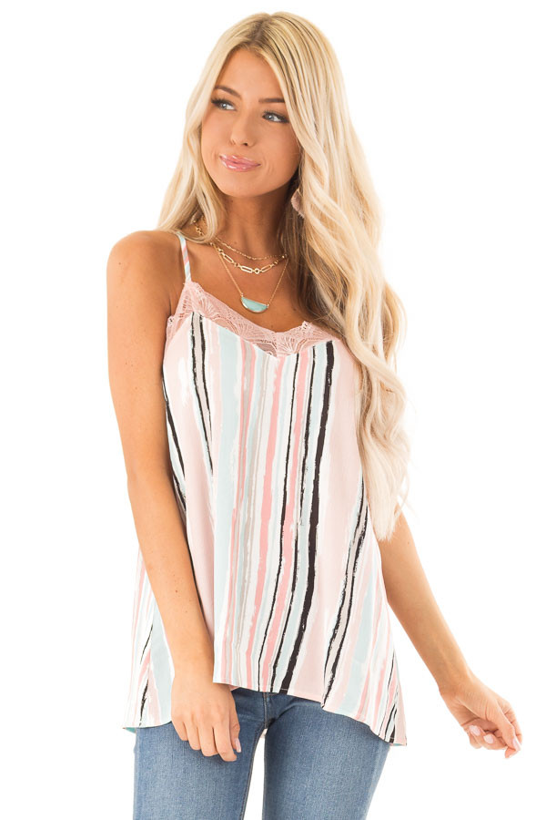 Baby Pink Multicolor Striped Camisole with Lace Trim front close up