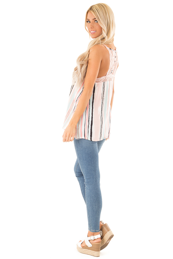 Baby Pink Multicolor Striped Camisole with Lace Trim side full body