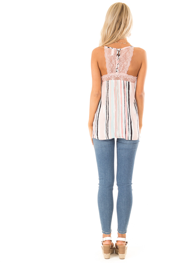 Baby Pink Multicolor Striped Camisole with Lace Trim back full body