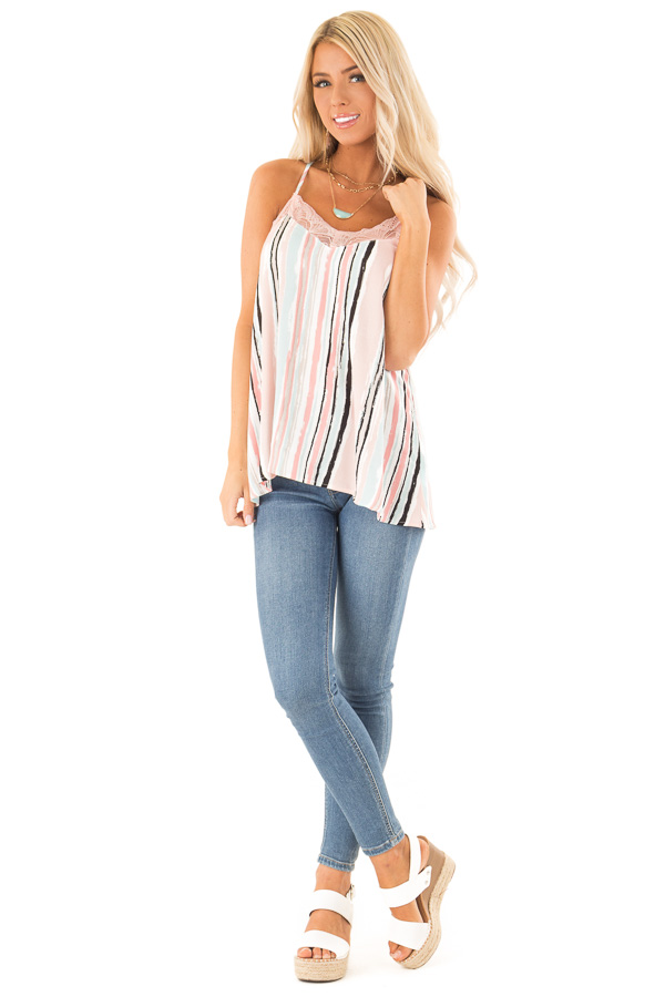Baby Pink Multicolor Striped Camisole with Lace Trim front full body
