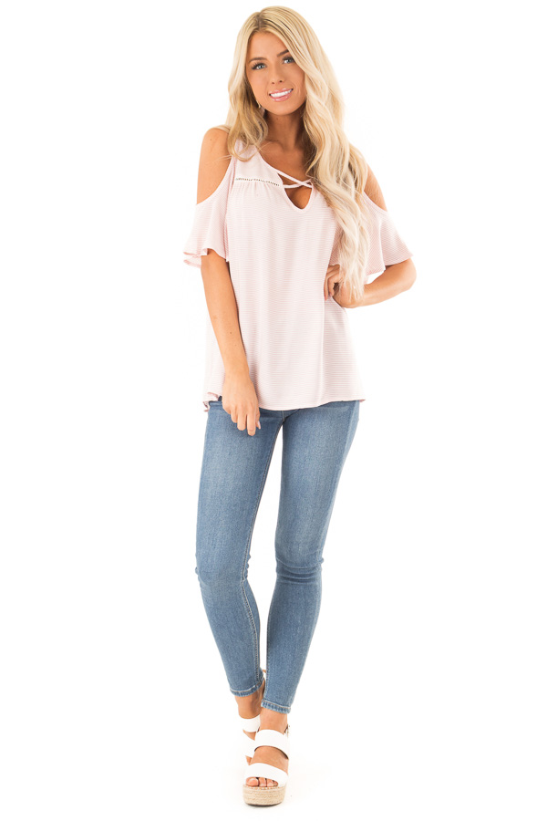Baby Pink and Ivory Pin Stripe Top with Cold Shoulders front full body