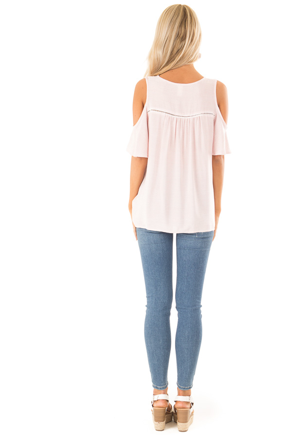 Baby Pink and Ivory Pin Stripe Top with Cold Shoulders back full body