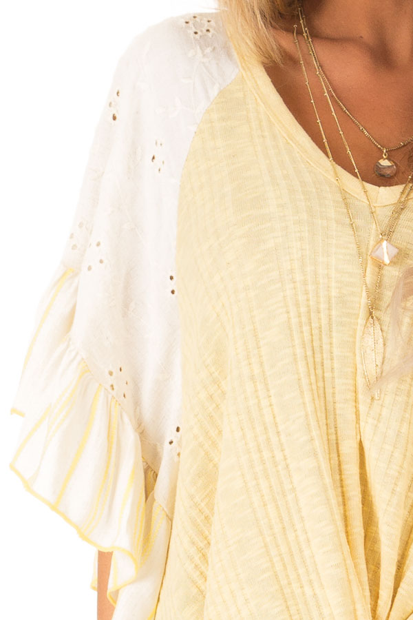 Banana Yellow Top with Contrast Sleeves and Front Twist detail