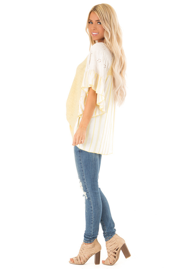 Banana Yellow Top with Contrast Sleeves and Front Twist side full body