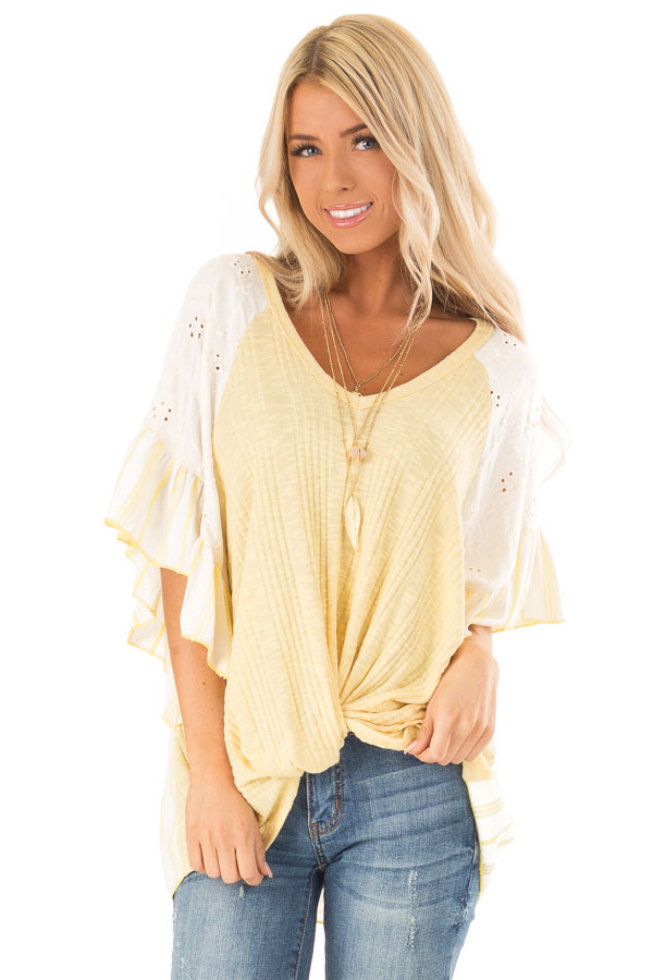 Banana Yellow Top with Contrast Sleeves and Front Twist front close up