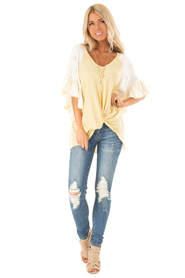 Banana Yellow Top with Contrast Sleeves and Front Twist front full body
