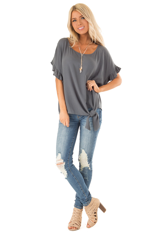 Dark Teal Ruffled Sleeve Blouse with Front Knot Detail front full body
