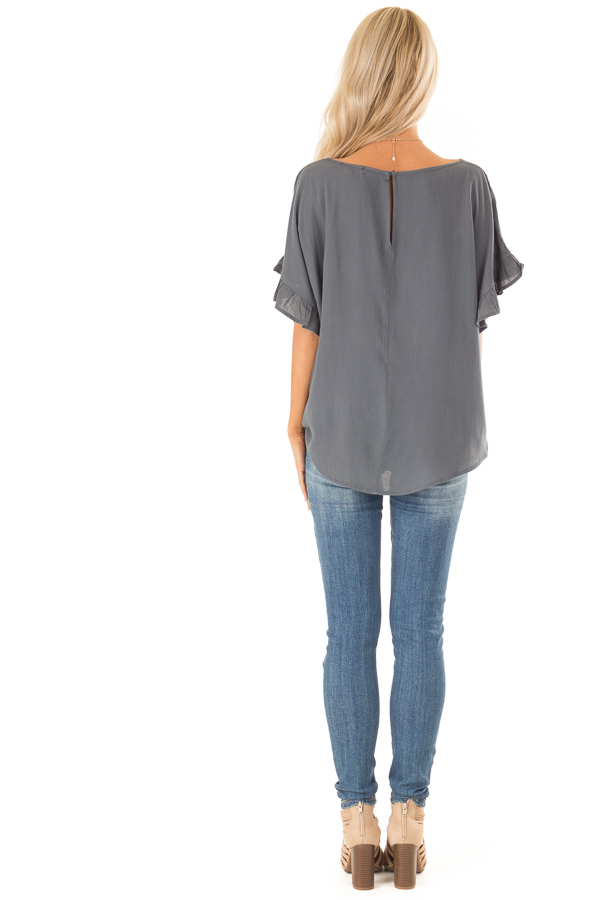 Dark Teal Ruffled Sleeve Blouse with Front Knot Detail back full body