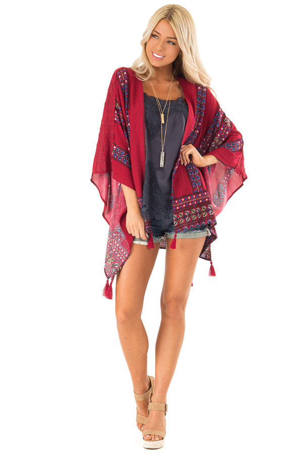 Currant Red Floral Print Kimono with Lace and Tassel Details front full body