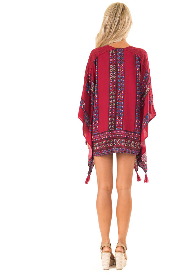 Currant Red Floral Print Kimono with Lace and Tassel Details back full body