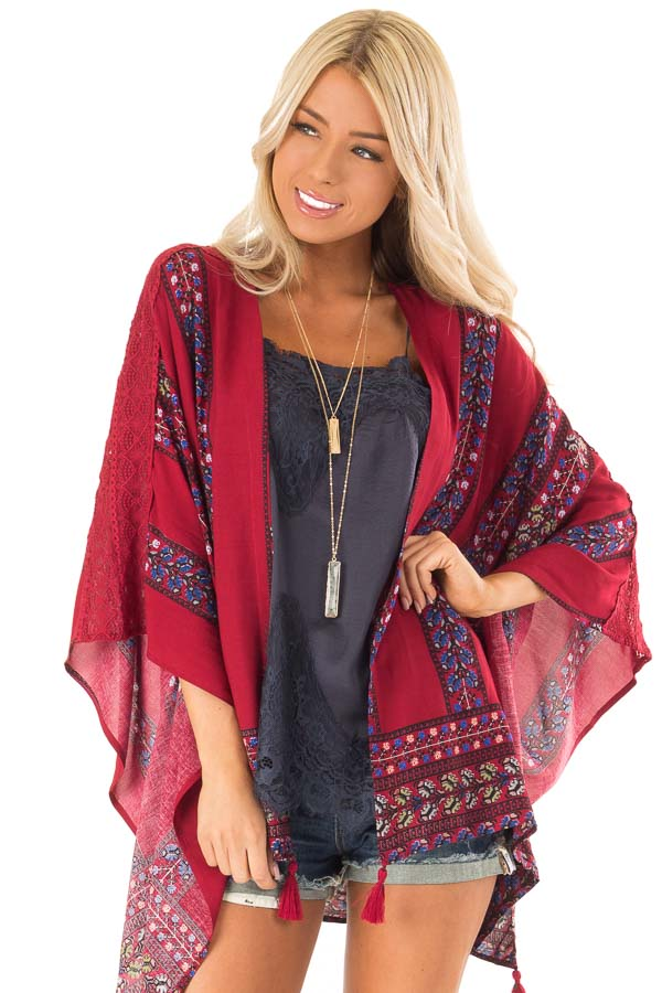 Currant Red Floral Print Kimono with Lace and Tassel Details front close up