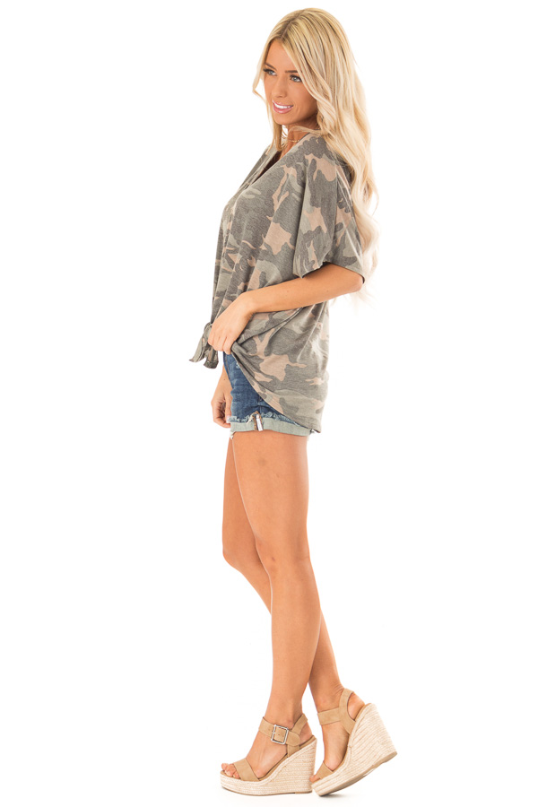 Faded Olive Camo Button Down Short Sleeve Top with Front Tie side full body