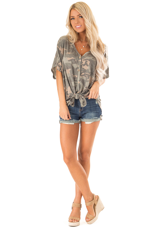 Faded Olive Camo Button Down Short Sleeve Top with Front Tie front full body