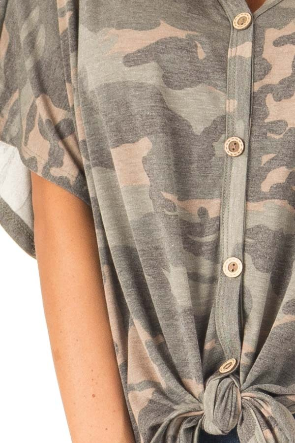 Faded Olive Camo Button Down Short Sleeve Top with Front Tie detail