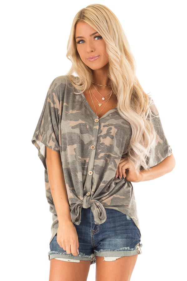 Faded Olive Camo Button Down Short Sleeve Top with Front Tie front close up