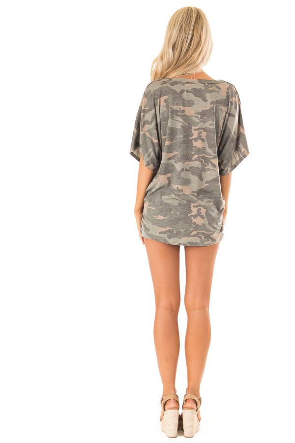 Faded Olive Camo Button Down Short Sleeve Top with Front Tie back full body