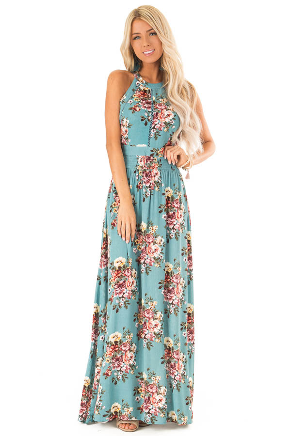 Teal Sleeveless Maxi Dress With Floral Print And Open Back