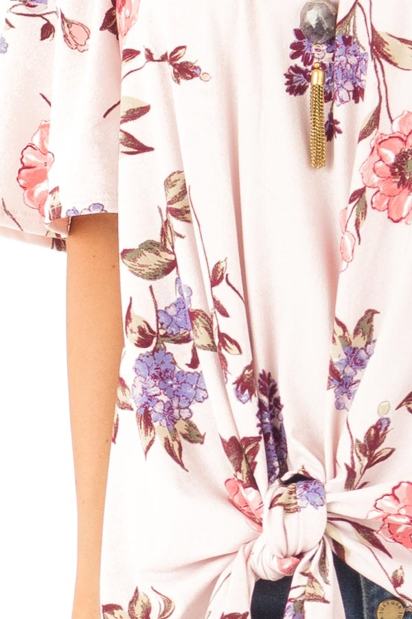 Blush Pink Floral Print Off the Shoulder Top with Front Tie detail