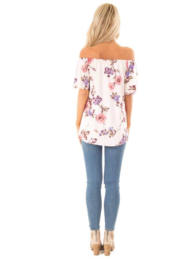 Blush Pink Floral Print Off the Shoulder Top with Front Tie back full body