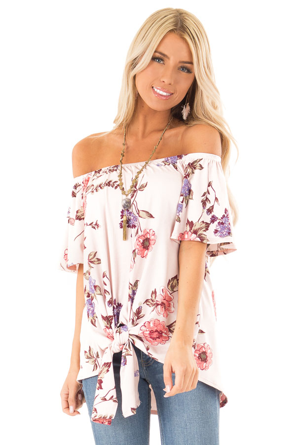 Blush Pink Floral Print Off the Shoulder Top with Front Tie front close up