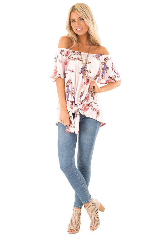 Blush Pink Floral Print Off the Shoulder Top with Front Tie front full body