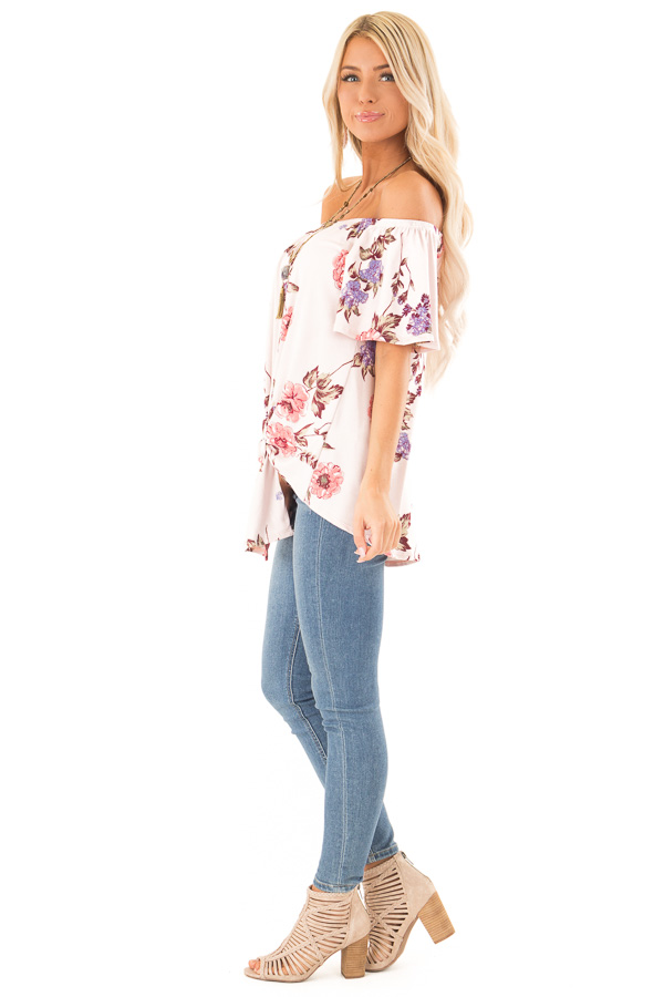 Blush Pink Floral Print Off the Shoulder Top with Front Tie side full body