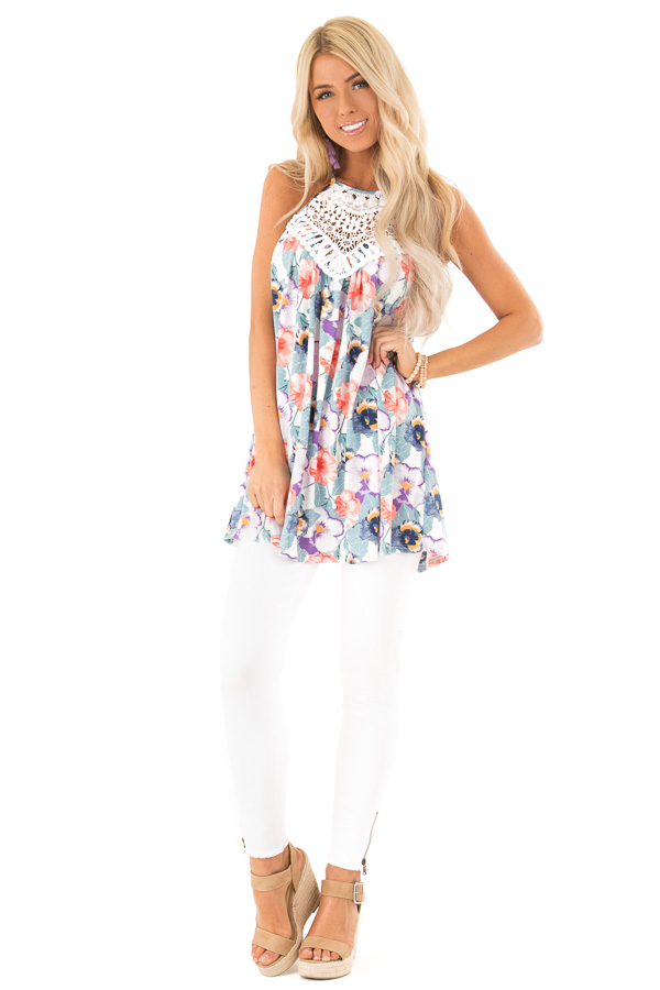 Dusty Teal and Violet Floral Print Tank with Crochet Detail front full body