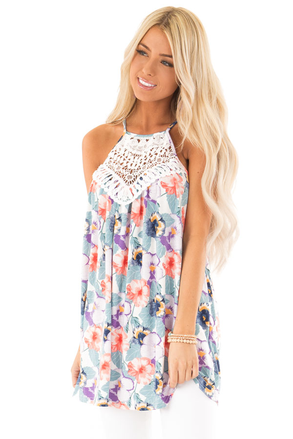 Dusty Teal and Violet Floral Print Tank with Crochet Detail front close up
