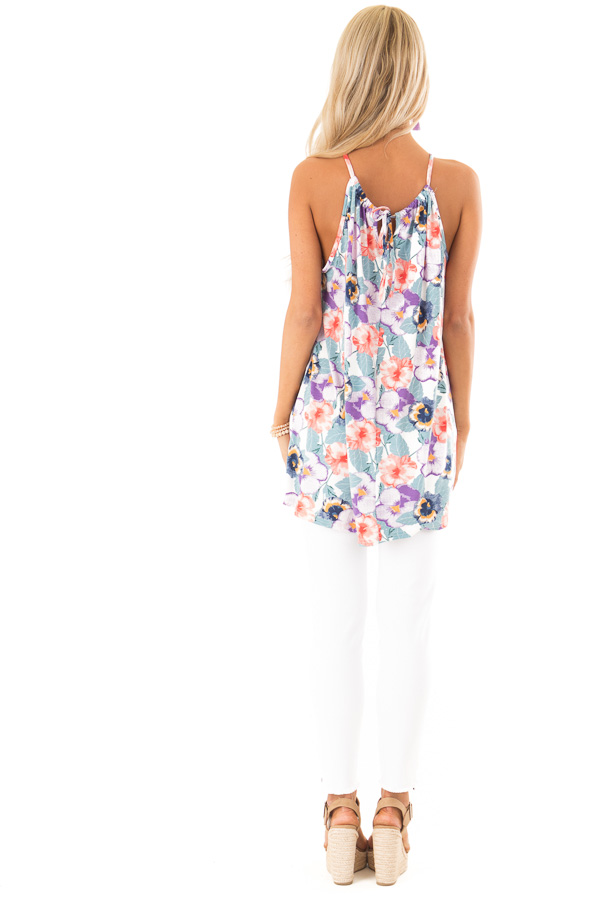 Dusty Teal and Violet Floral Print Tank with Crochet Detail back full body