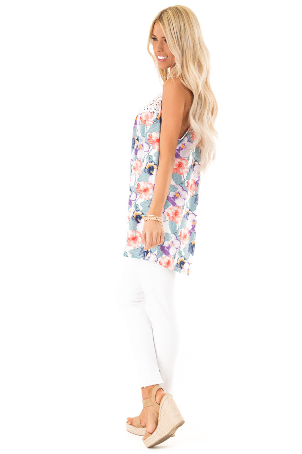 Dusty Teal and Violet Floral Print Tank with Crochet Detail side full body