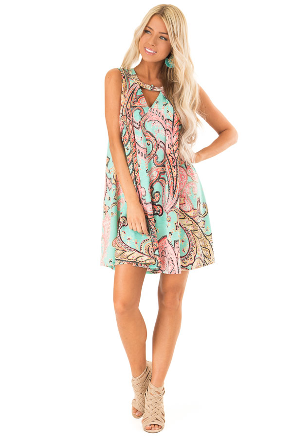 Mint Swing Dress with Paisley Print and Keyhole Detail front full body