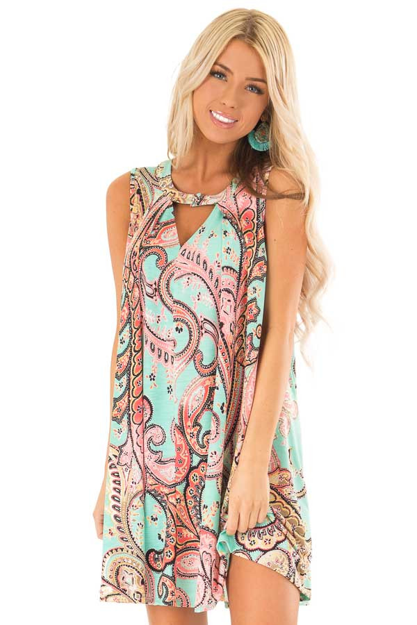 Mint Swing Dress with Paisley Print and Keyhole Detail front close up
