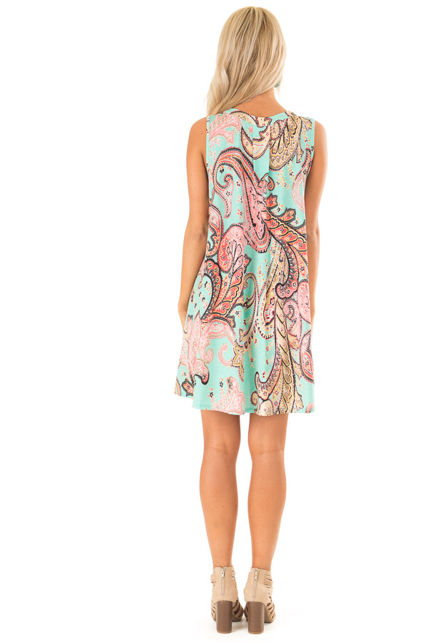 Mint Swing Dress with Paisley Print and Keyhole Detail back full body
