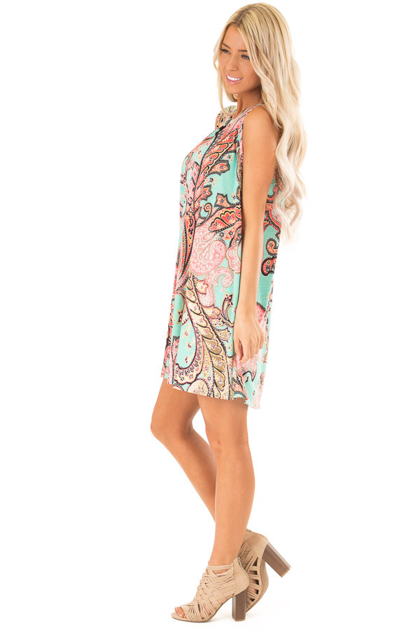 Mint Swing Dress with Paisley Print and Keyhole Detail side full body