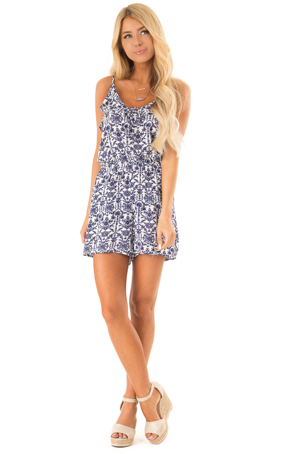 Dusty Blue and Pure White Floral Romper with Ruffle Details front full body