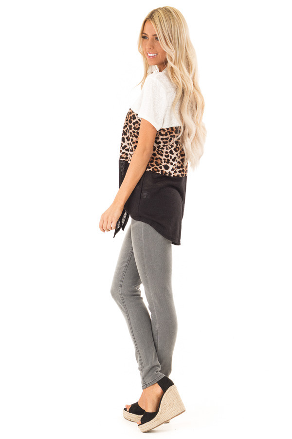 Ivory Leopard and Obsidian Color Block Top with Tie Detail side full body