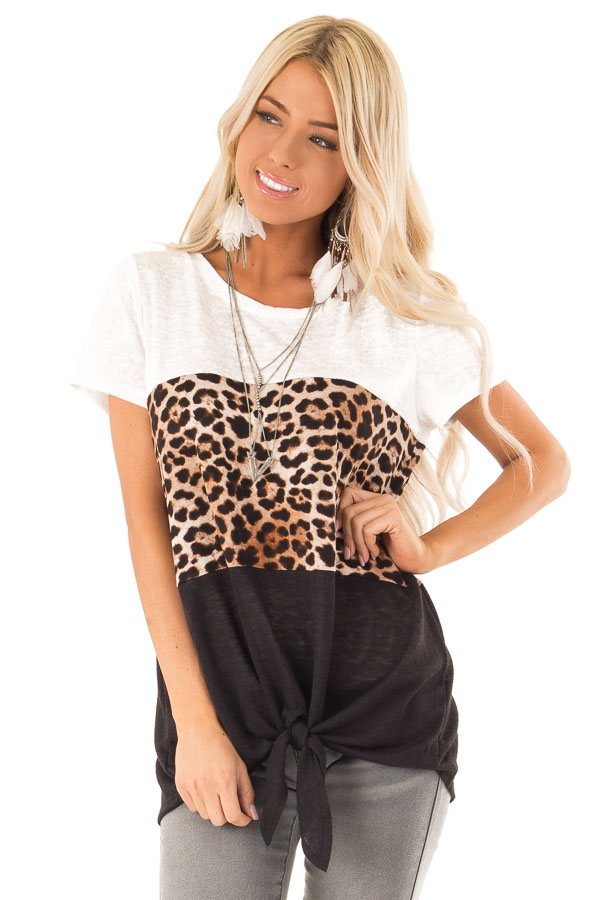 Ivory Leopard and Obsidian Color Block Top with Tie Detail front close up