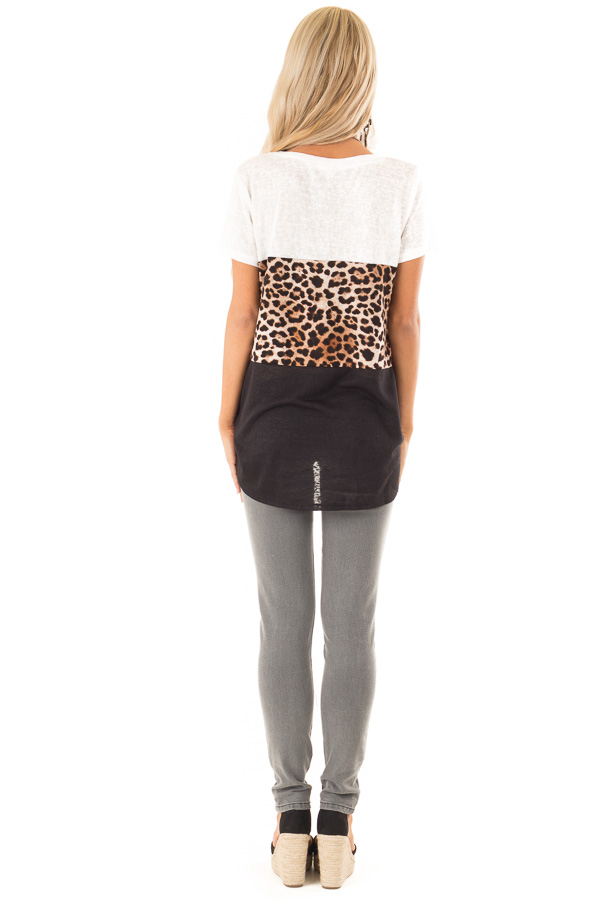 Ivory Leopard and Obsidian Color Block Top with Tie Detail back full body