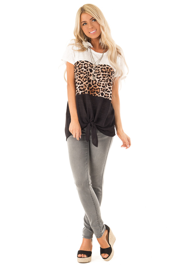 Ivory Leopard and Obsidian Color Block Top with Tie Detail front full body