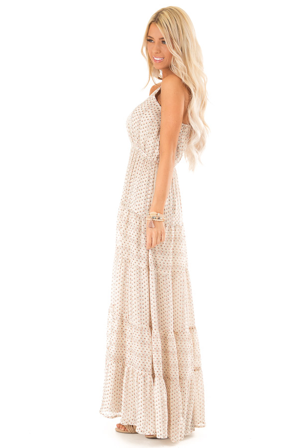 Oatmeal Floral Print High Neck Maxi Dress with Tiered Skirt side full body