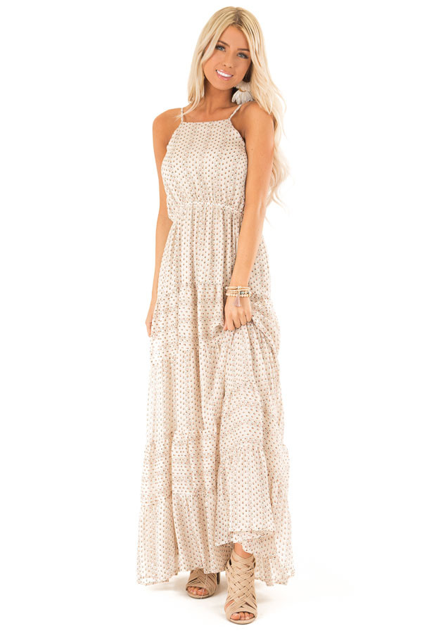 Oatmeal Floral Print High Neck Maxi Dress with Tiered Skirt front full body