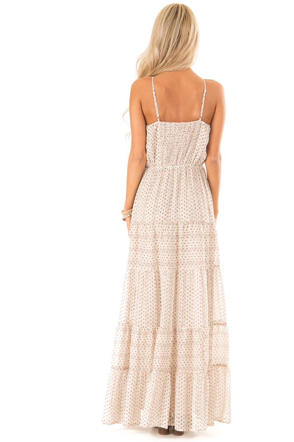 Oatmeal Floral Print High Neck Maxi Dress with Tiered Skirt back full body