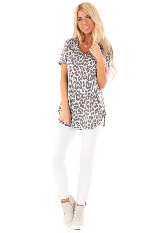 Baby Blue and Taffy Pink Leopard Print Short Sleeve Top front full body