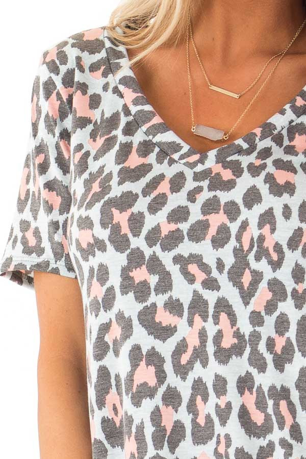 Baby Blue and Taffy Pink Leopard Print Short Sleeve Top detail