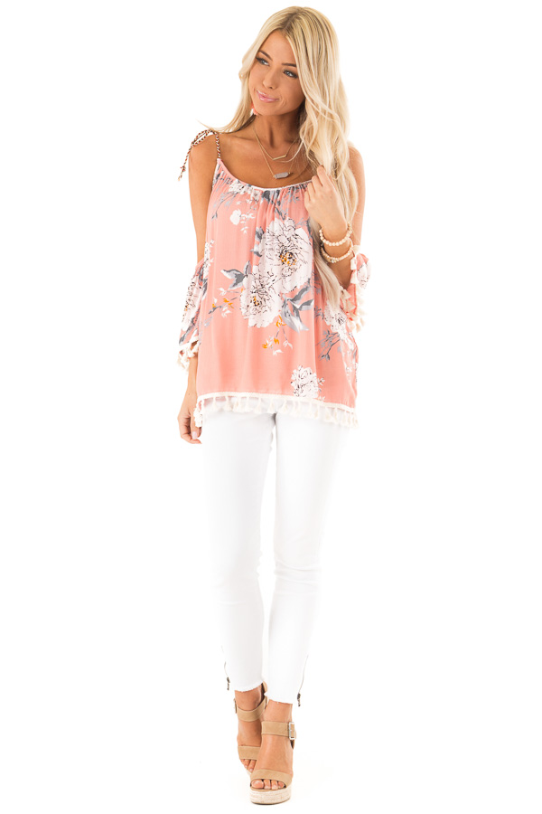 Peachy Pink Floral Print Cold Shoulder Top with Tassels front full body