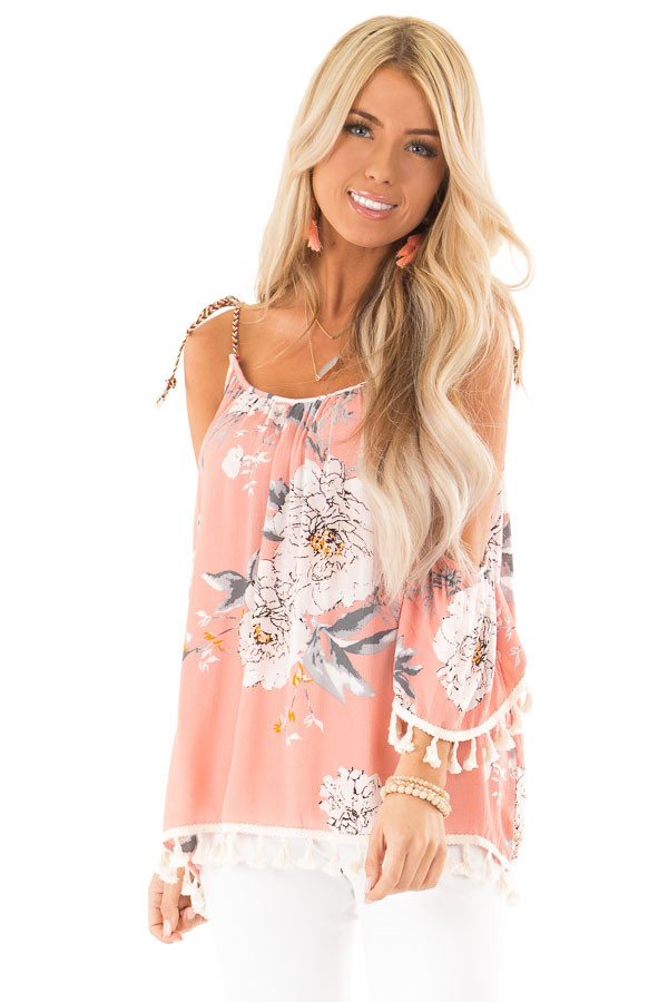 Peachy Pink Floral Print Cold Shoulder Top with Tassels front close up