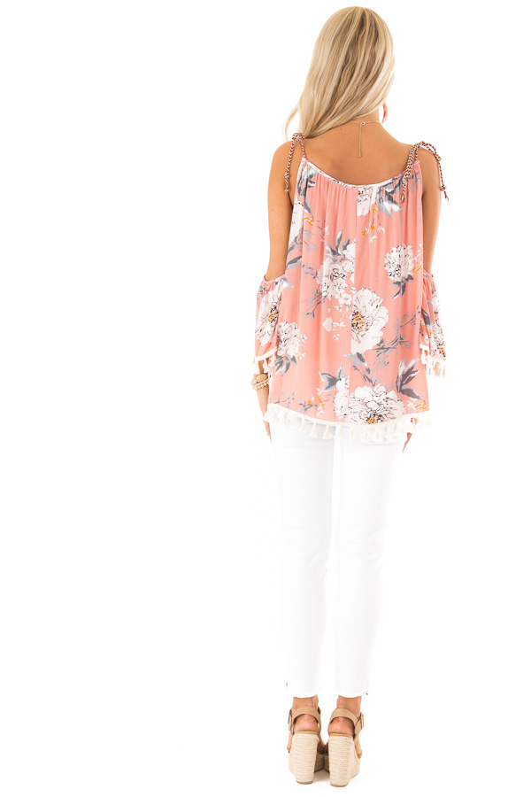 Peachy Pink Floral Print Cold Shoulder Top with Tassels back full body